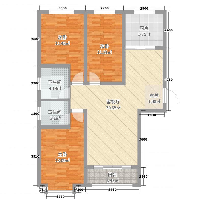 鑫家园116.72㎡C-1户型3室2厅1卫1厨