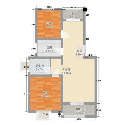 盘蠡花园2室1厅1卫1厨86.00㎡户型图