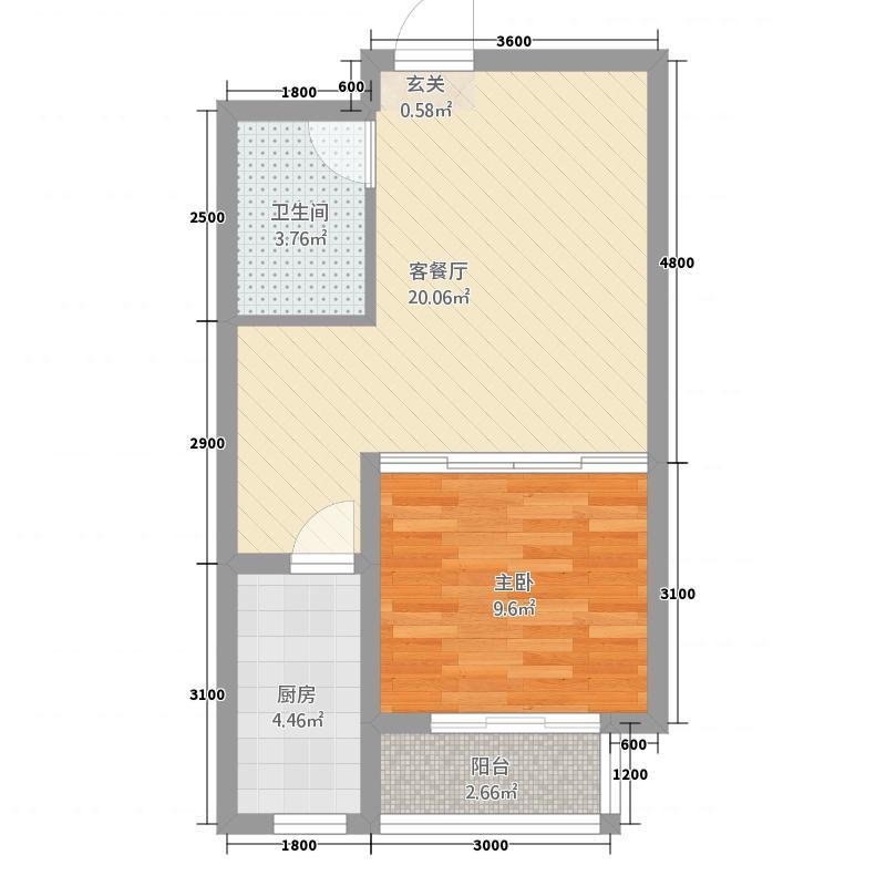 鑫家园56.57㎡A-1户型1室1厅1卫1厨