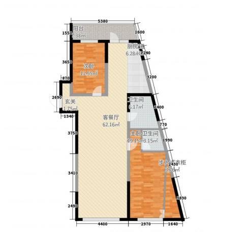 丽水蓝天2室1厅2卫0厨155.00㎡户型图