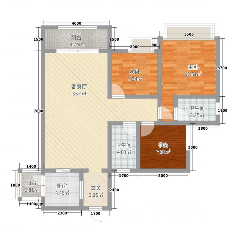 帝豪绿洲C1型户型3室2厅2卫1厨