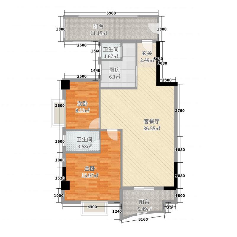 宜诚大厦116.60㎡11-12层03户型2室1厅2卫1厨