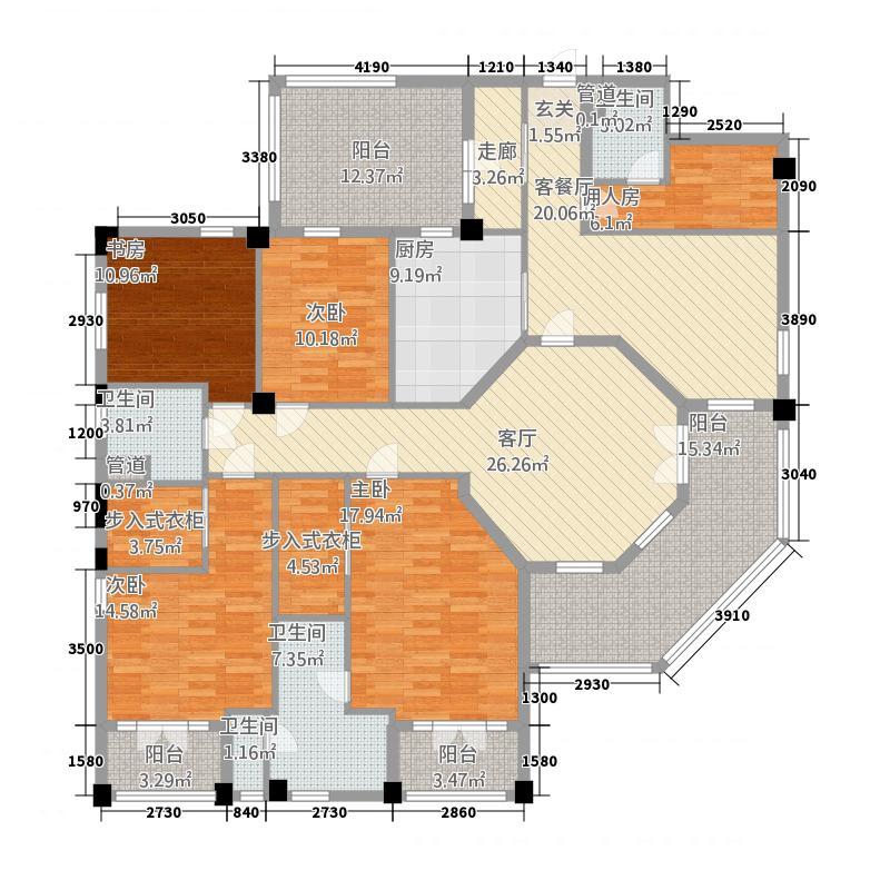 绿城蓝庭252.00㎡绿城蓝庭户型图CH-1户型5室2厅3卫1厨户型5室2厅3卫1厨