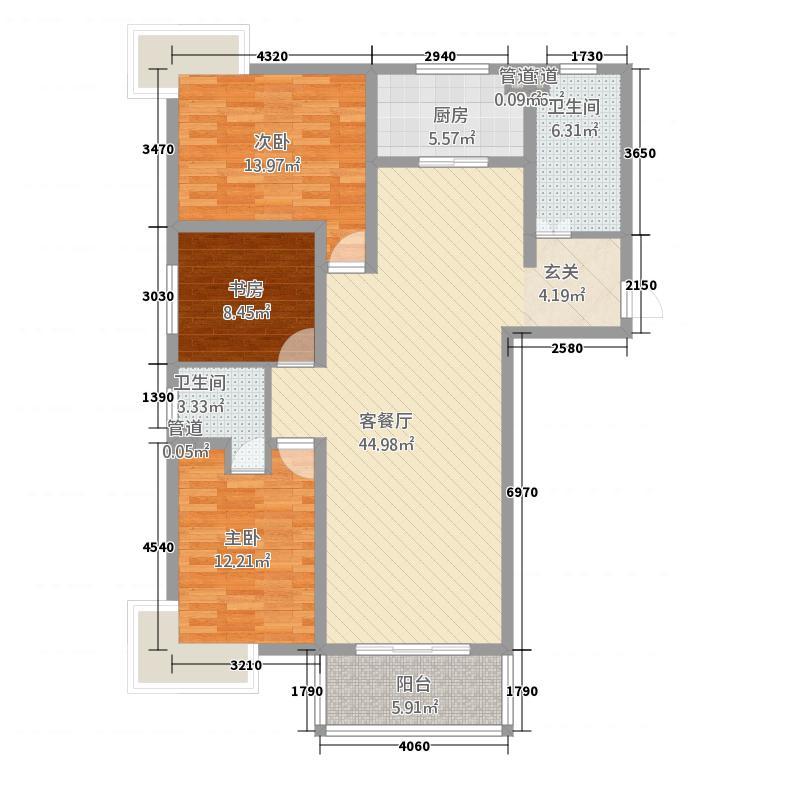 银河佳苑141.70㎡户型3室2厅2卫1厨
