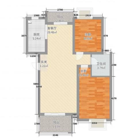 梅林国际2室1厅1卫1厨67.90㎡户型图