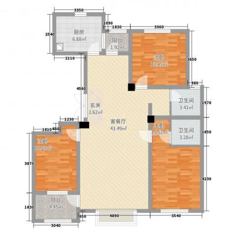 明潭府3室1厅2卫1厨147.00㎡户型图