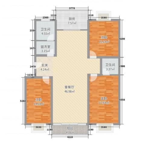 兴业山海天花园3室2厅2卫1厨161.00㎡户型图
