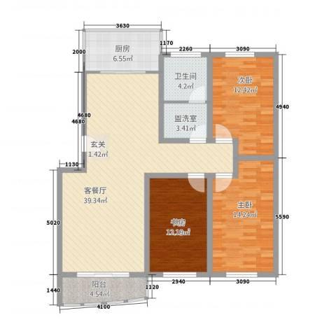 兴业山海天花园3室2厅1卫1厨138.00㎡户型图