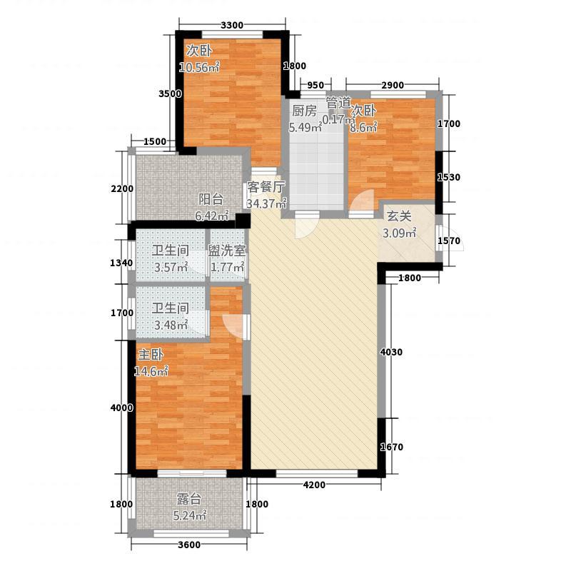 万盛南加州146.00㎡C户型3室2厅2卫1厨