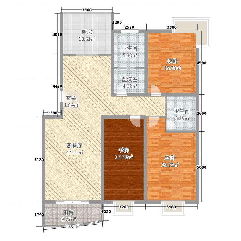 兴业山海天花园185.00㎡户型3室2厅2卫1厨