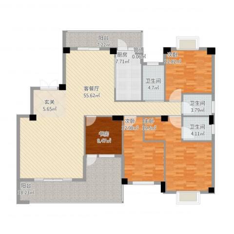 紫金家园4室1厅3卫1厨216.00㎡户型图