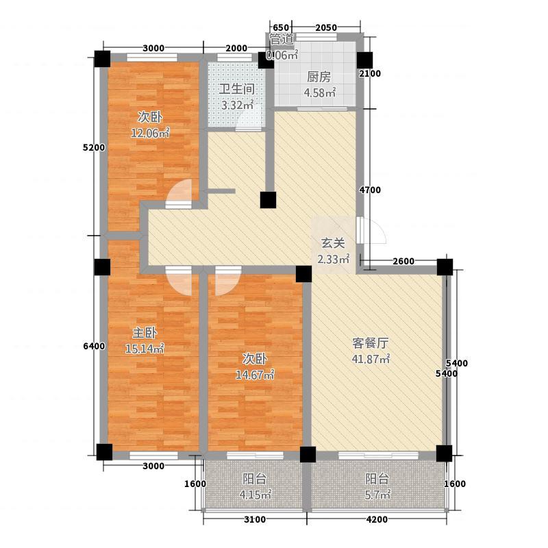 天盛苑136.00㎡户型3室2厅1卫1厨