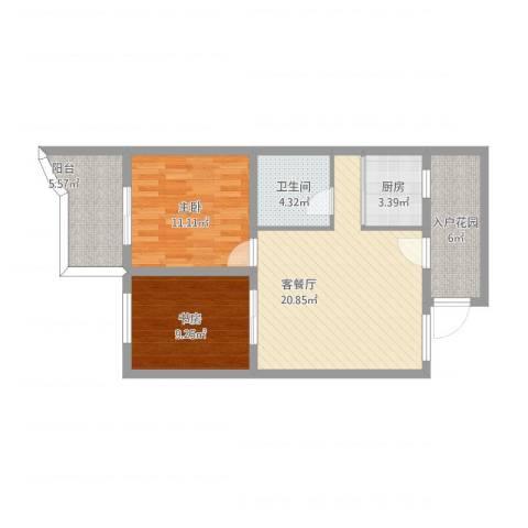 赤岗路大院2室1厅1卫1厨88.00㎡户型图