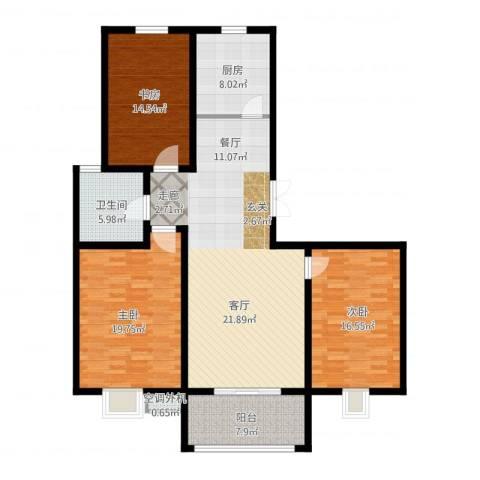 丽湾国际3室1厅1卫1厨158.00㎡户型图