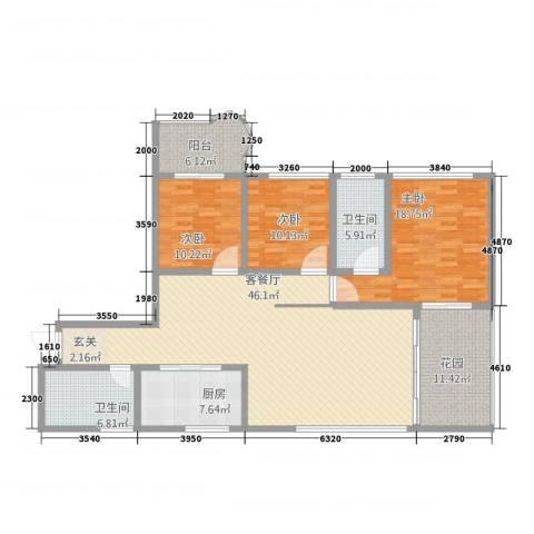 丽景花城3室1厅2卫1厨133.00㎡户型图