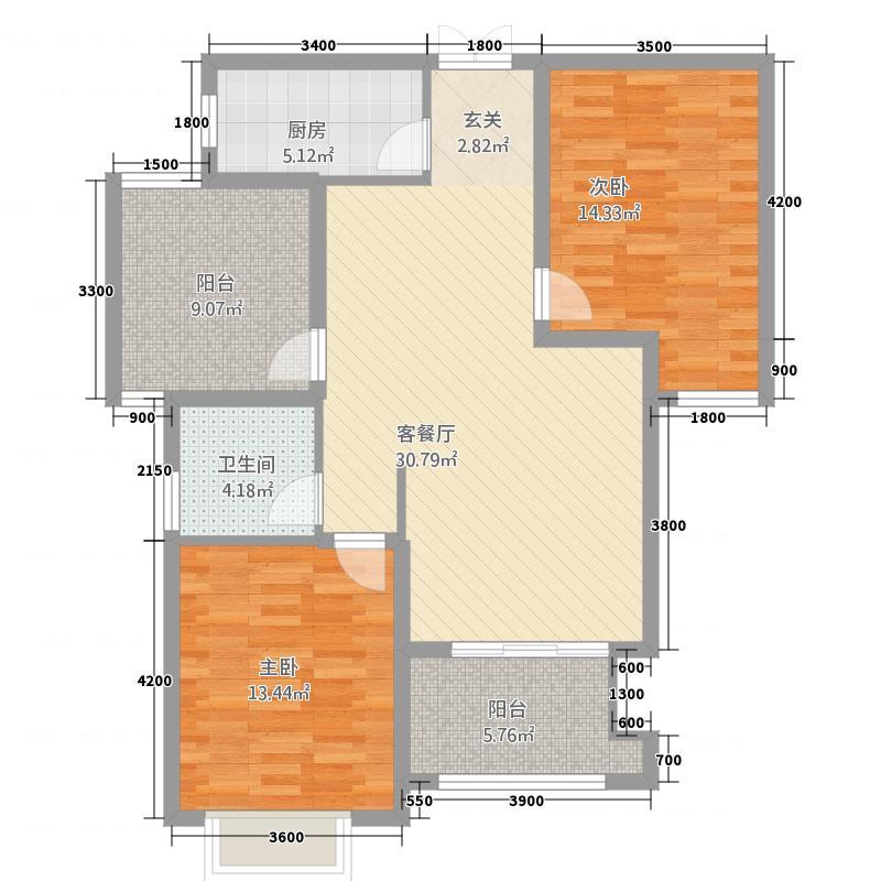 大运・外滩玺园16.75㎡129ppt-02户型2室2厅1卫1厨