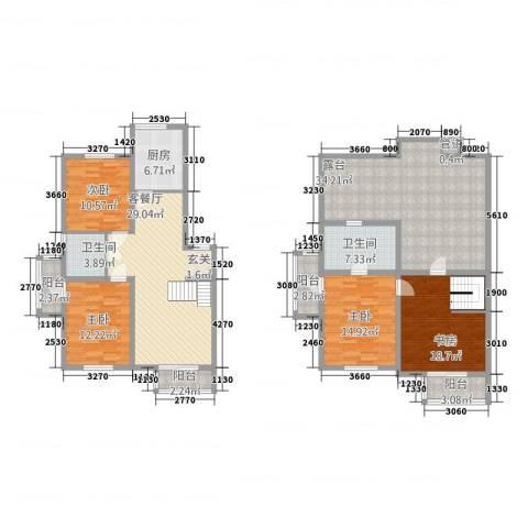 榆林华苑4室1厅2卫1厨212.00㎡户型图