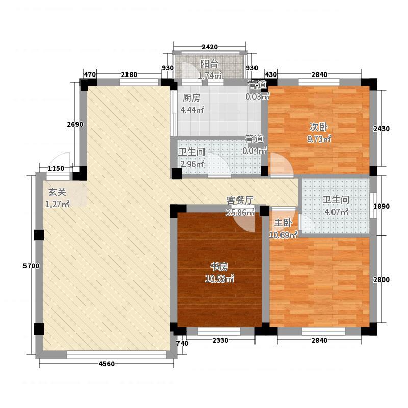 阳光丽景二期144.00㎡4#户型3室2厅1卫1厨
