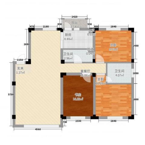 阳光丽景二期3室1厅2卫1厨144.00㎡户型图