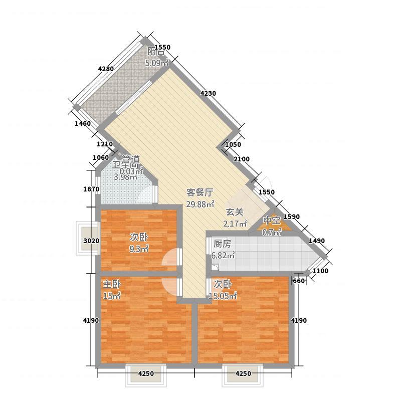 神泽花苑118.40㎡AB户型3室2厅1卫1厨