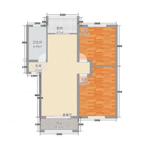 阳光嘉园2室1厅1卫1厨82.30㎡户型图