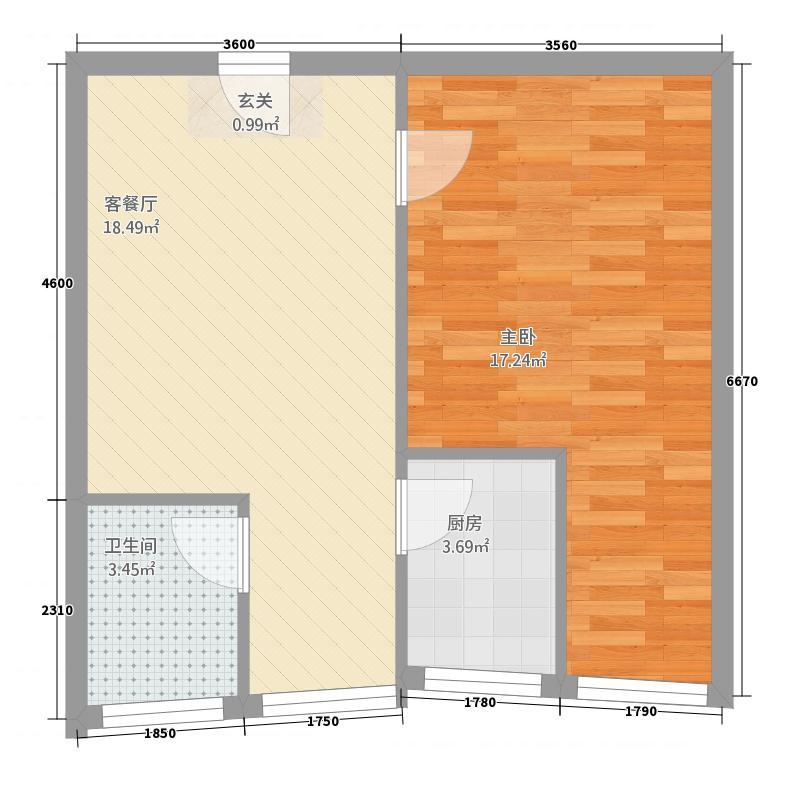 红月亮52.00㎡小区C户型1室2厅1卫1厨