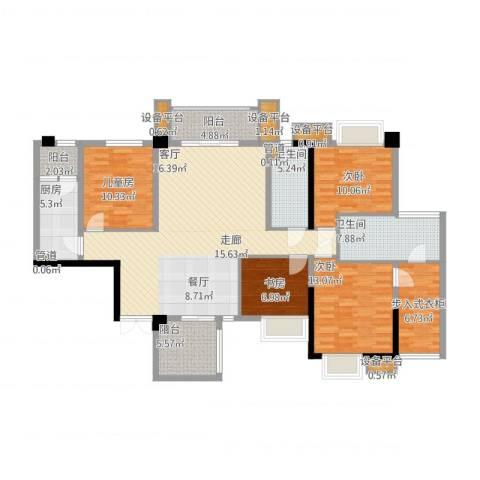 泰然环球时代中心4室1厅2卫1厨176.00㎡户型图