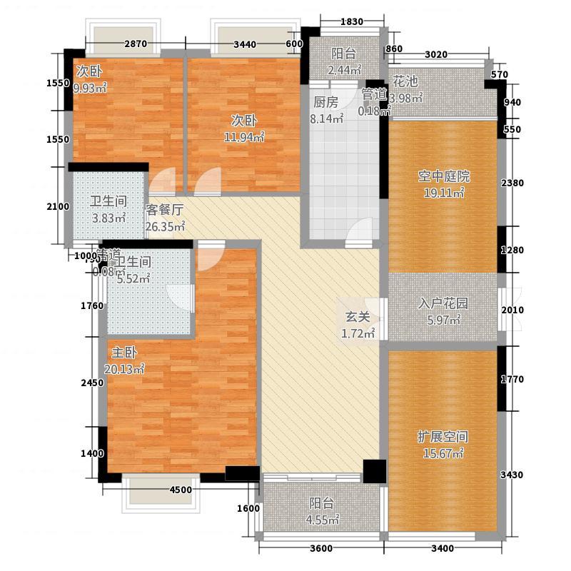 金宇锦园雍景台(御景台)2-24双数层B户户型3室2厅2卫