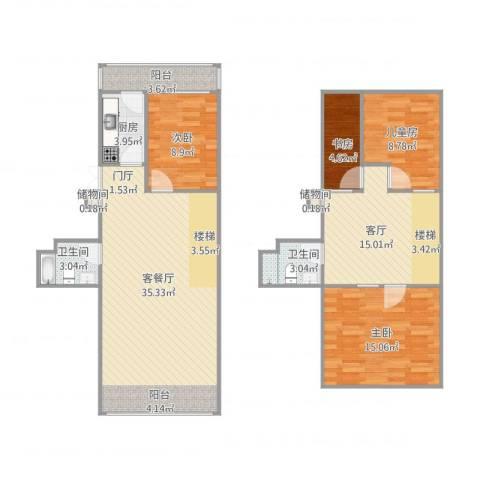慧忠北里4室2厅2卫1厨137.00㎡户型图