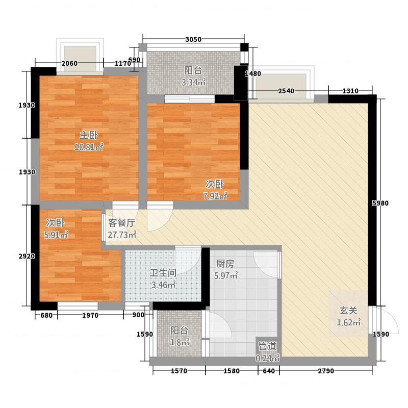 居安苑两居室39户型2室1厅1卫1厨