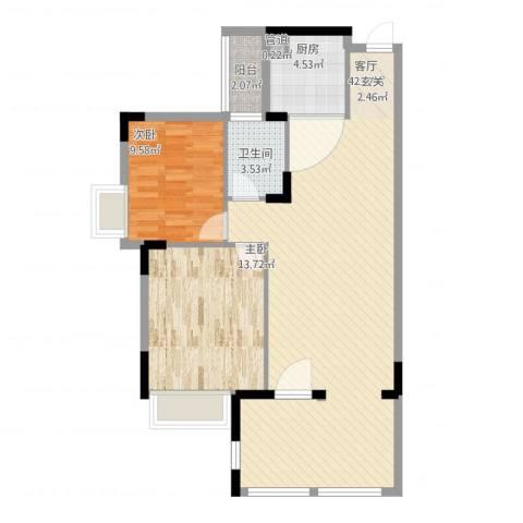 世纪城国际公馆 四期2室1厅2卫1厨107.00㎡户型图