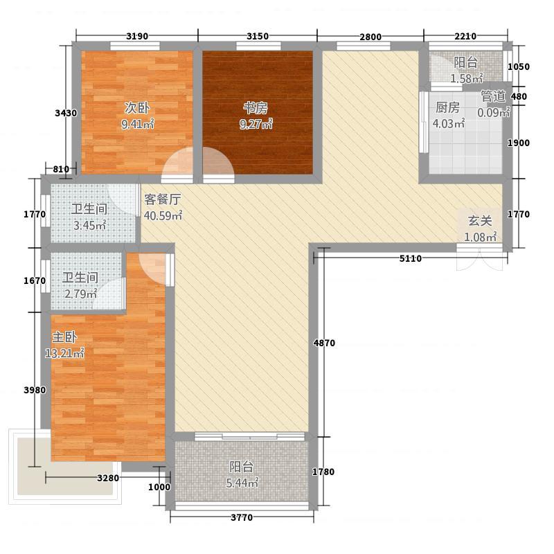 大兴第一城13.45㎡3号楼D1-户型3室2厅2卫1厨