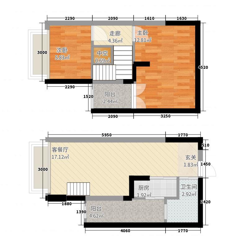 爱顿第3季花园6.72㎡B6(复式)户型2室2厅1卫1厨