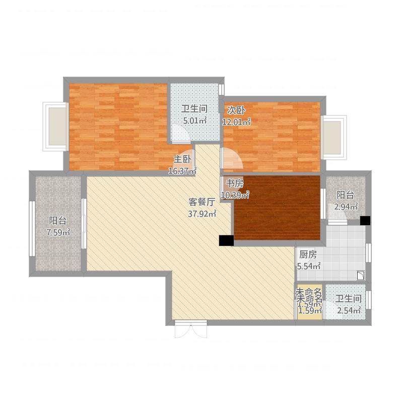 和美星城D区B3户型建筑面积129.8