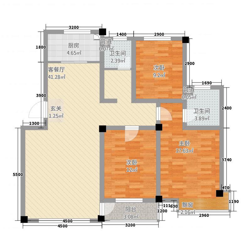 御珑国际城116.00㎡-12户型3室2厅2卫1厨