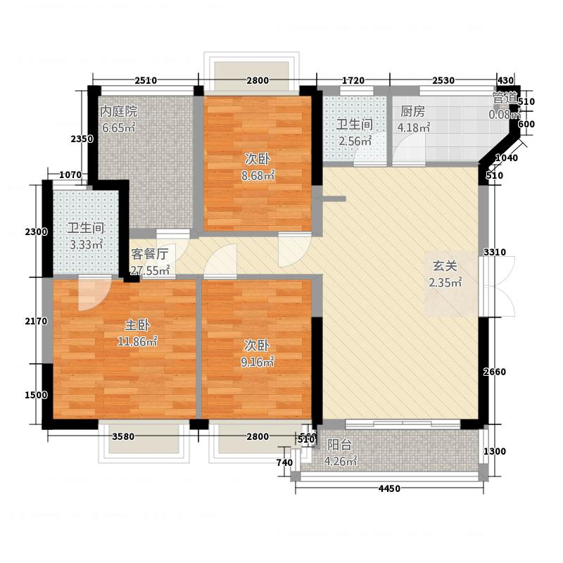 榕景华庭11.00㎡户型5室