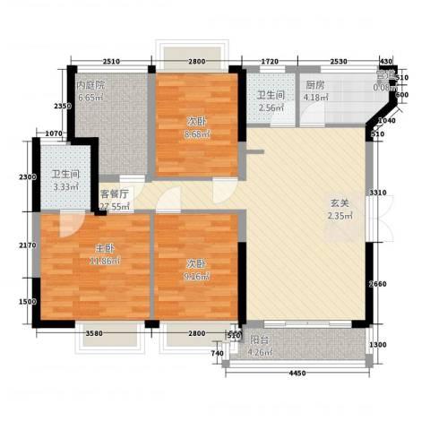榕景华庭3室1厅2卫1厨78.30㎡户型图