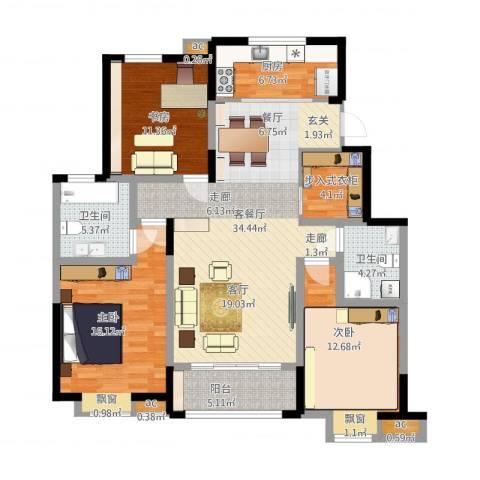 融科上城3室1厅2卫1厨146.00㎡户型图