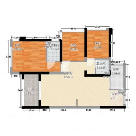 榕景华庭3室1厅2卫1厨93.00㎡户型图
