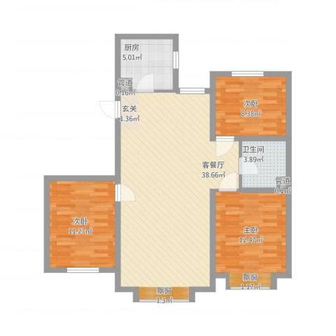 沈阳月星国际城3室1厅1卫1厨112.00㎡户型图