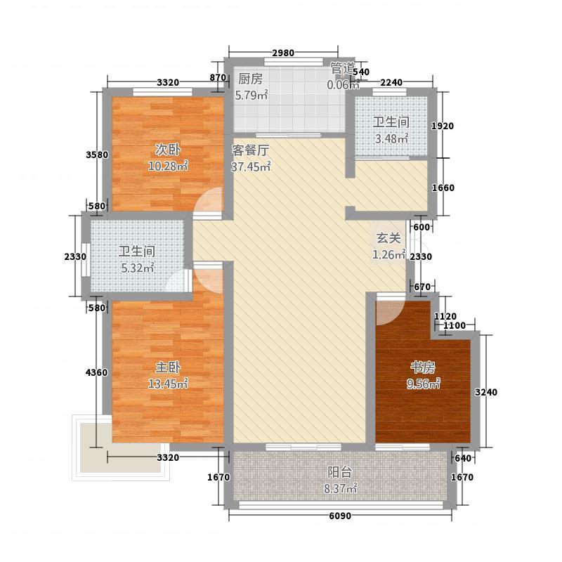 大兴第一城135.65㎡11号楼G-户型3室2厅2卫1厨