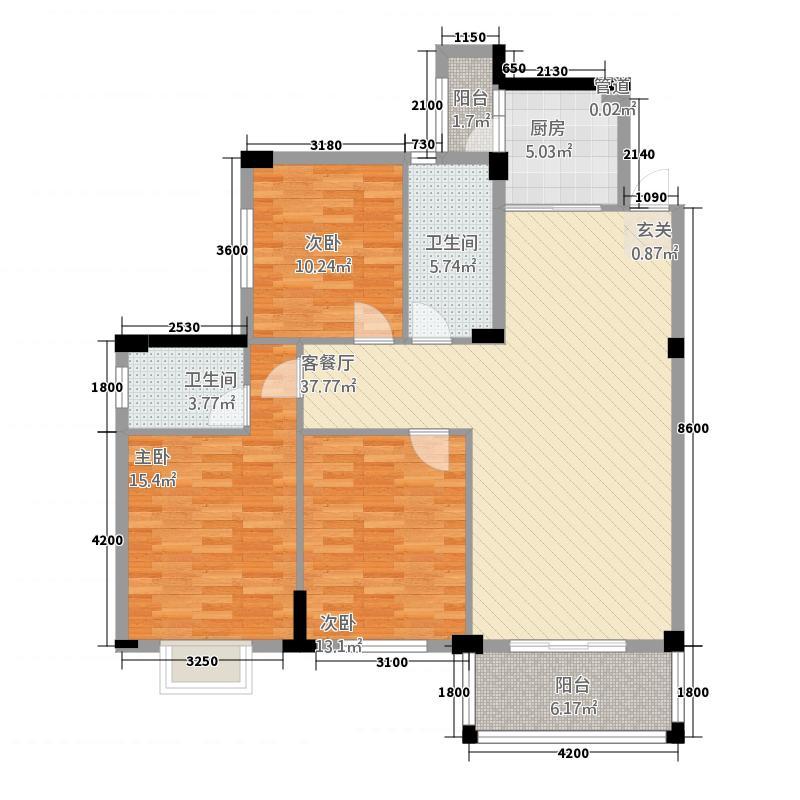 平安滨江苑12.46㎡户型3室2厅1卫1厨
