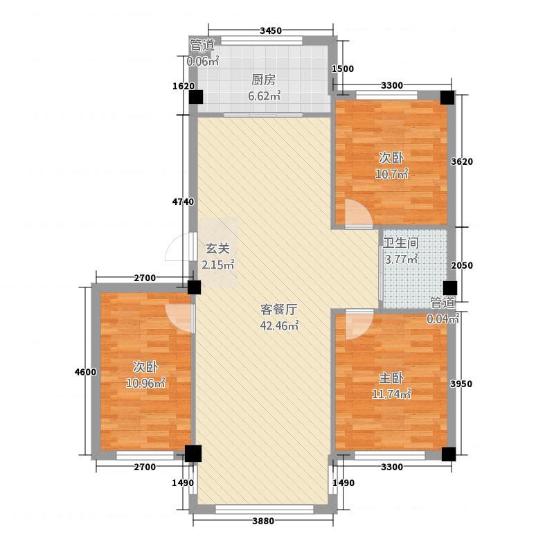 阳都城11.80㎡E户型3室2厅1卫1厨
