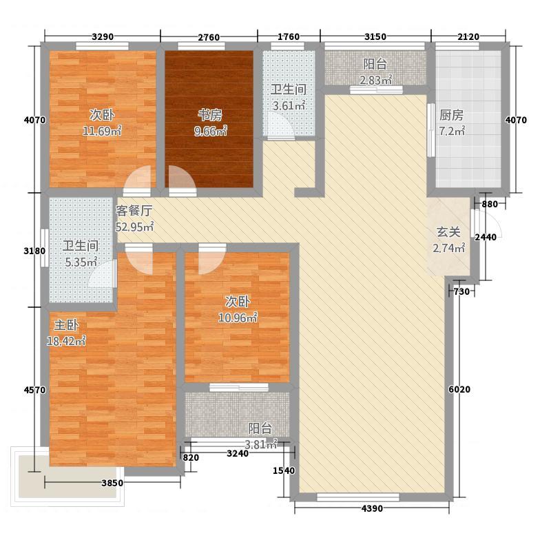 富翔庄园18.67㎡2#楼A户型4室2厅2卫1厨