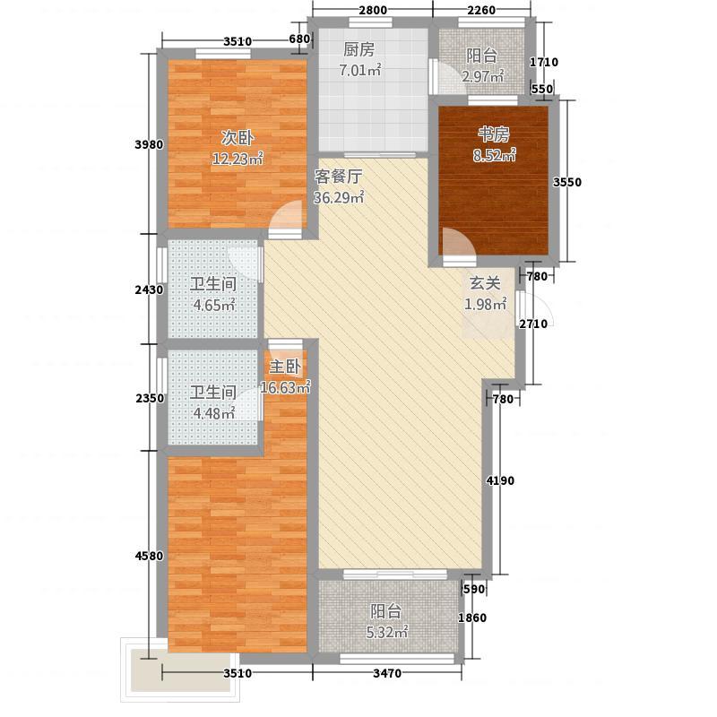 富翔庄园14.50㎡4#楼C户型3室2厅2卫1厨