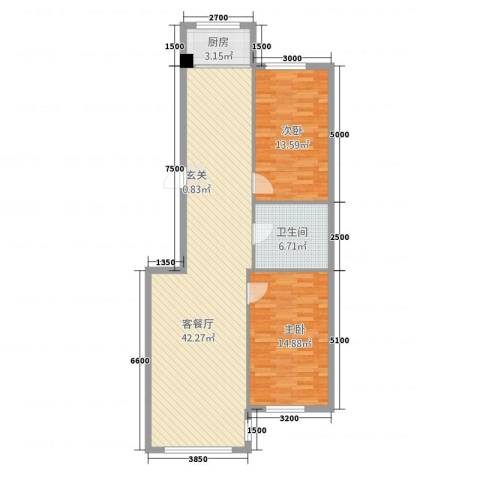 九豪富贵山庄2室1厅1卫1厨111.00㎡户型图