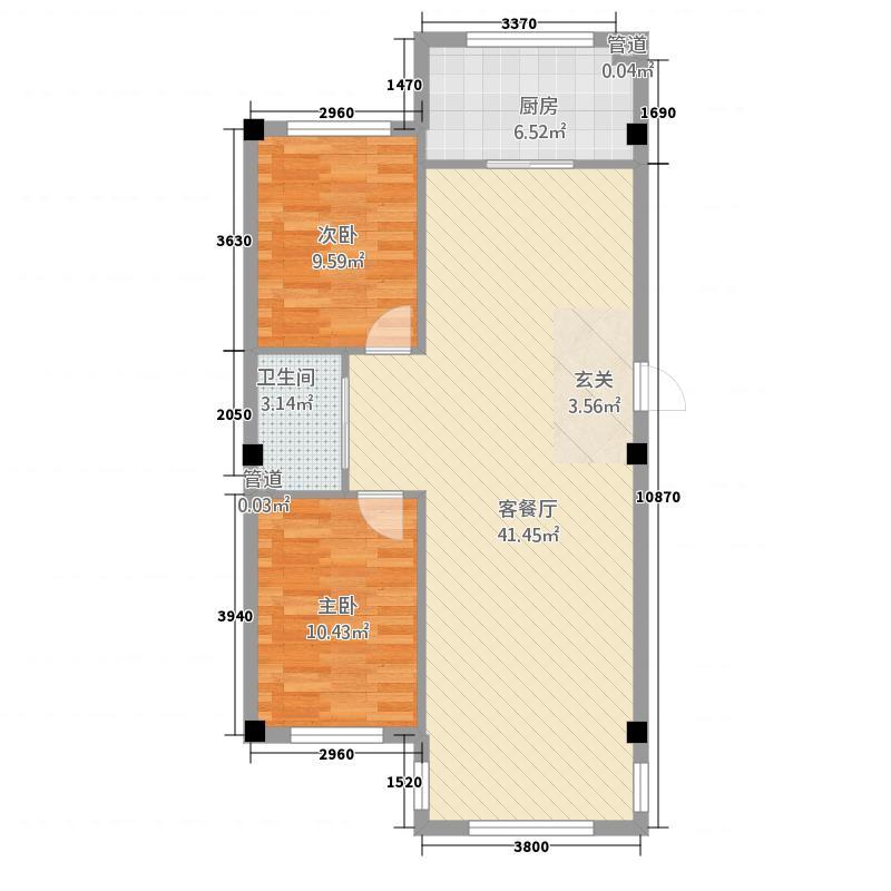 阳都城E1户型2室2厅1卫1厨