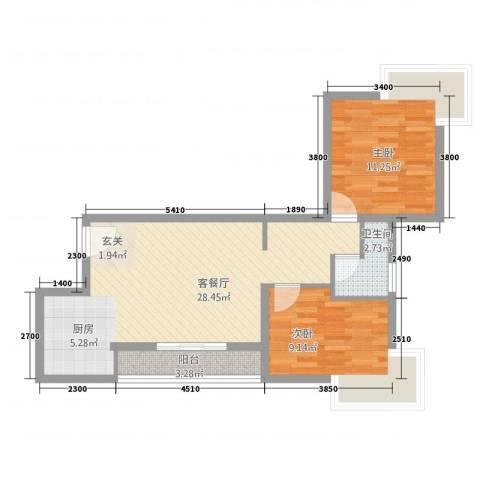 塞纳阳光2室1厅1卫0厨79.00㎡户型图