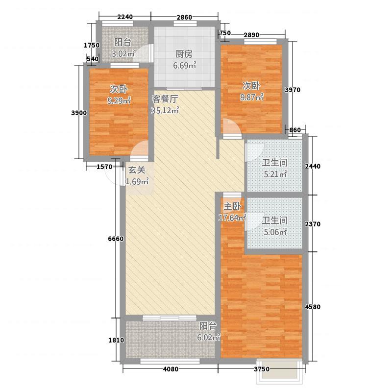 富翔庄园14.11㎡2#楼C户型3室2厅2卫1厨