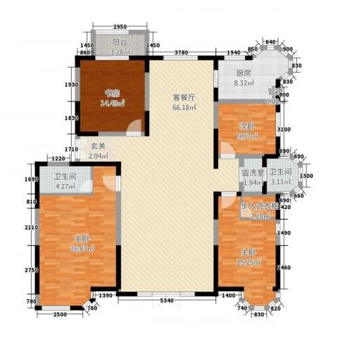 上河墅4室2厅2卫1厨217.00㎡户型图